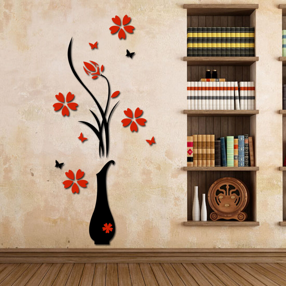 3d diy vase flower plum tree arcylic wall sticker home for 3d wall decoration stickers