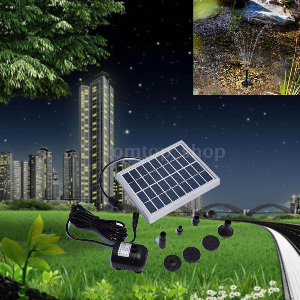 New small type landscape pool garden fountains 9v 2w solar for Solar water pump pond