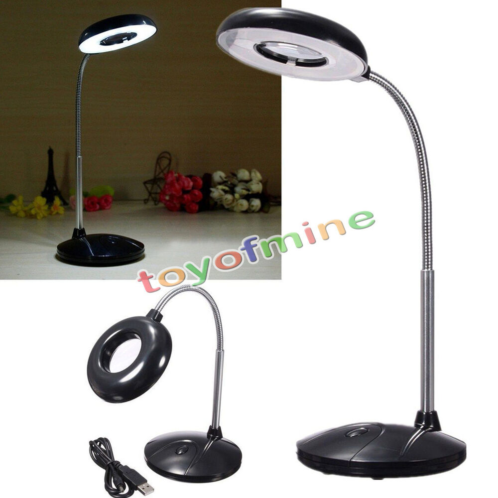 18 Led Usb Reading Table Desk Light With Magnifying Glass