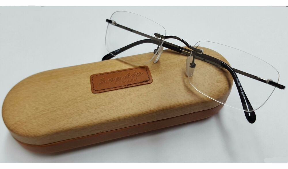 Rimless Clear Glasses : Sophia Maple Rimless Classic Clear Lens Glasses eBay