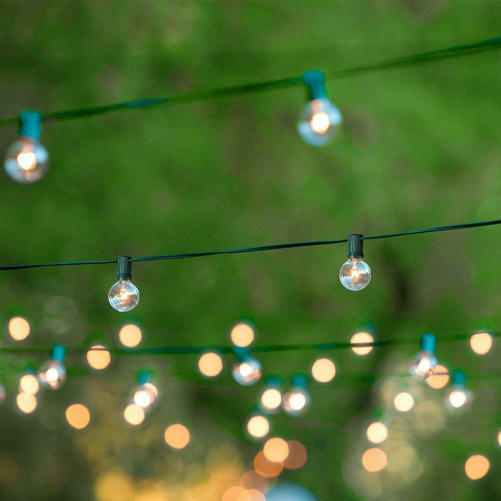 White String Garden Lights : 50FT Globe Patio Outdoor String Lights with 50 Clear Globe G40 Bulbs Warm White eBay