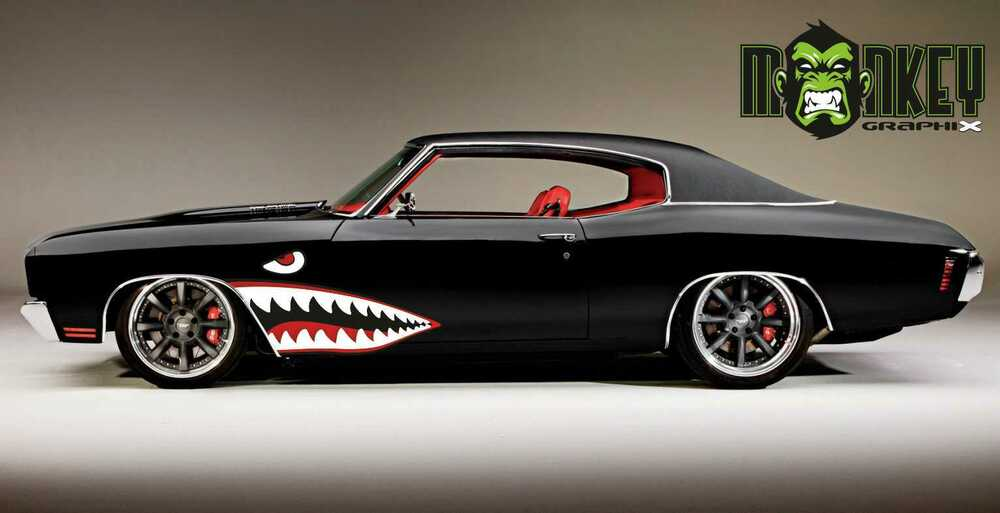 2er set muscle car oldschool aufkleber haimaul shark. Black Bedroom Furniture Sets. Home Design Ideas