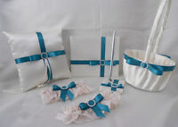 Ivory Teal Ring Pillow Flower Girl Basket Guest Book Pen Garters Your Colors