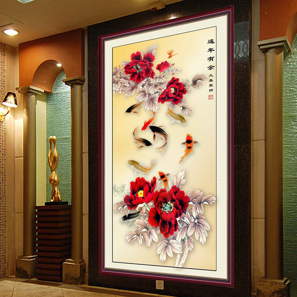 Wall Decor With Rhinestone : D diamond painting cross stitch rhinestone diy fish