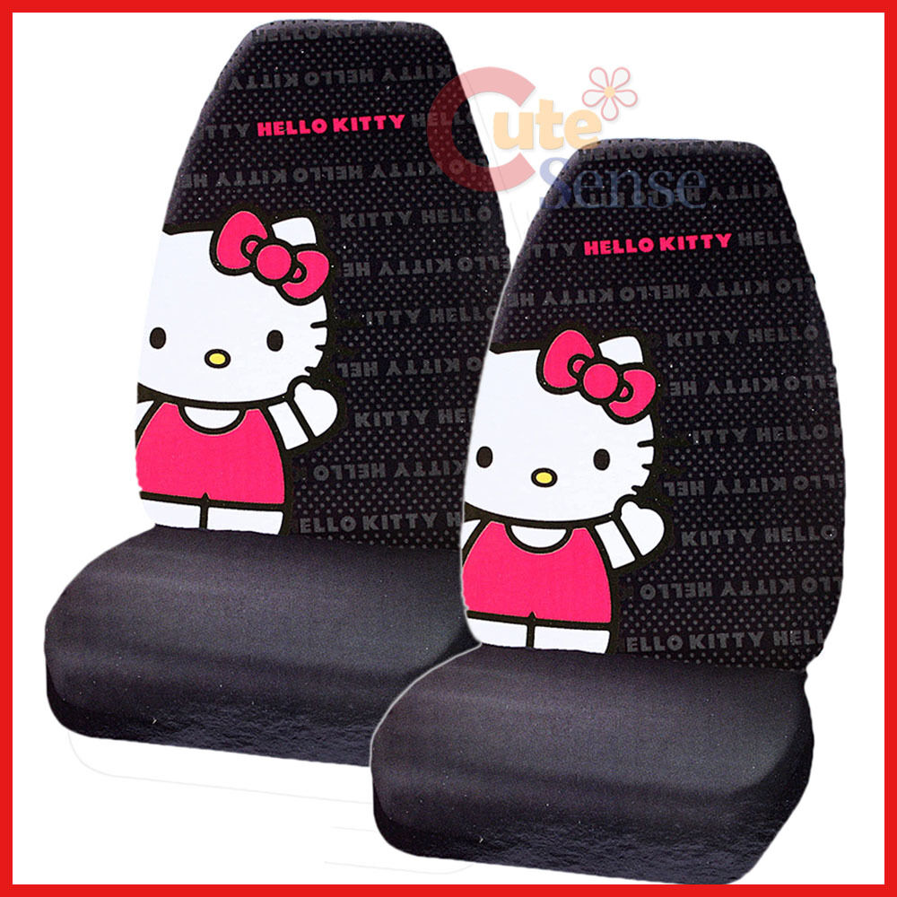 hello kitty car seat cover auto accessory 2pc front seat covers core ebay. Black Bedroom Furniture Sets. Home Design Ideas