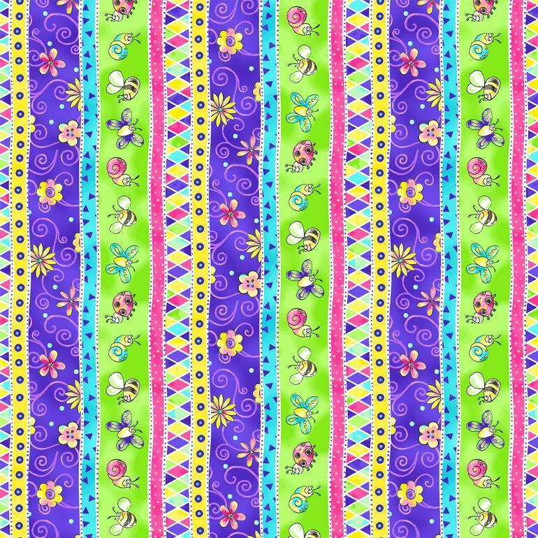 Topsy turvy blue yellow green pink butterfly lady bug for Yellow baby fabric