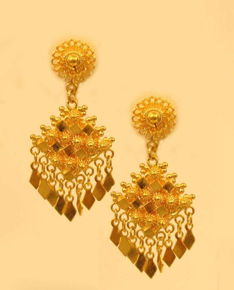 22k solid gold earring handmade from bangkok thailand for 22k gold jewelry usa