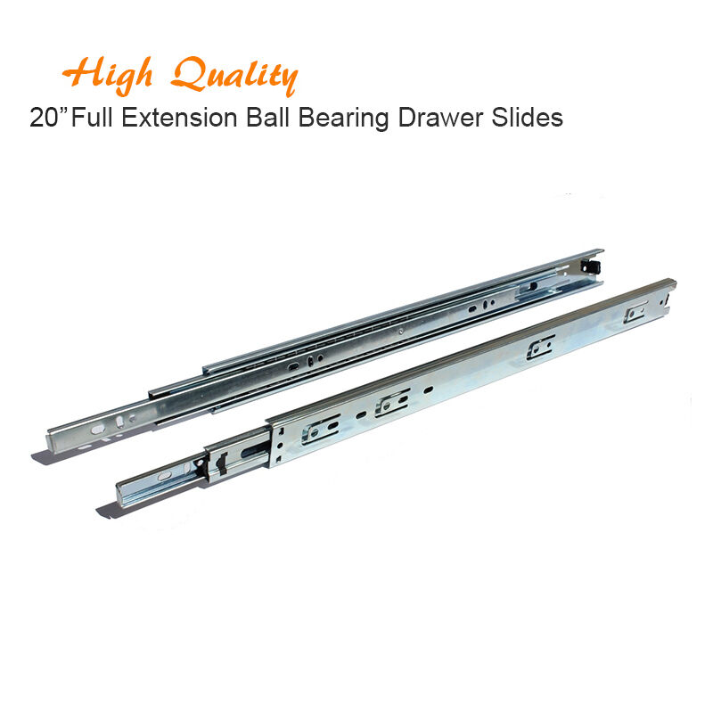 Pair Of 20 Full Extension Ball Bearing Kitchen Cabinet Closet Drawer Slides Ebay