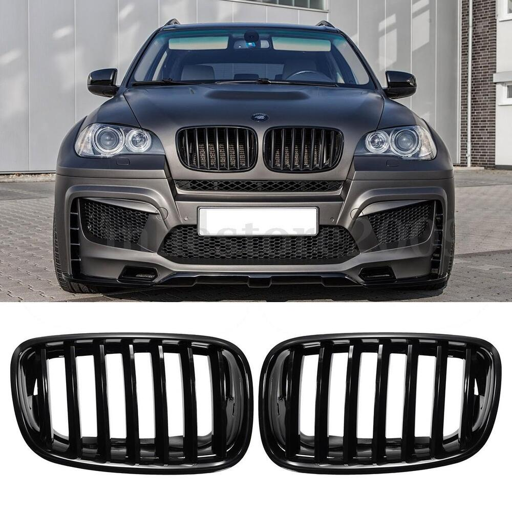 Pair Gloss Black Front Bumper Hood Grilles Grille For Bmw