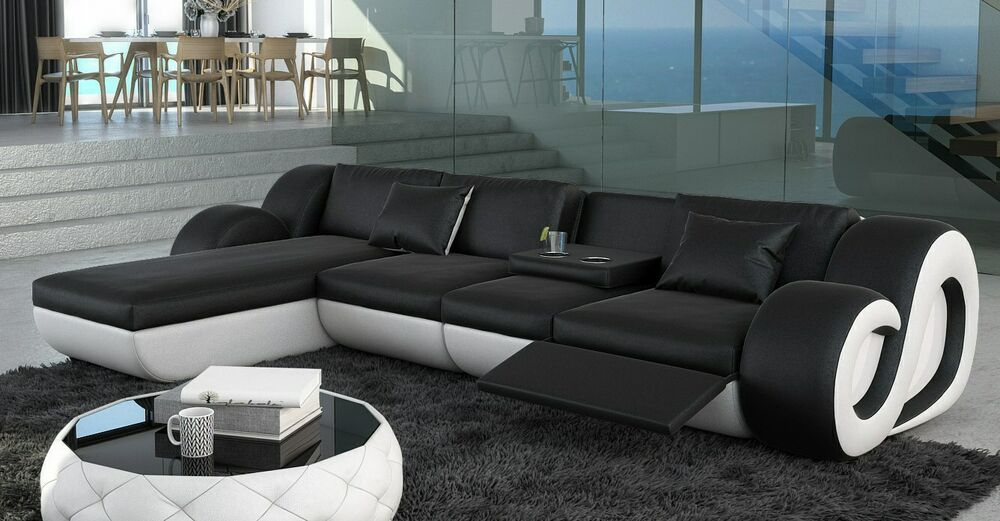 ledersofa eckcouch nesta l form mit led beleuchtung designersofa design couch ebay. Black Bedroom Furniture Sets. Home Design Ideas