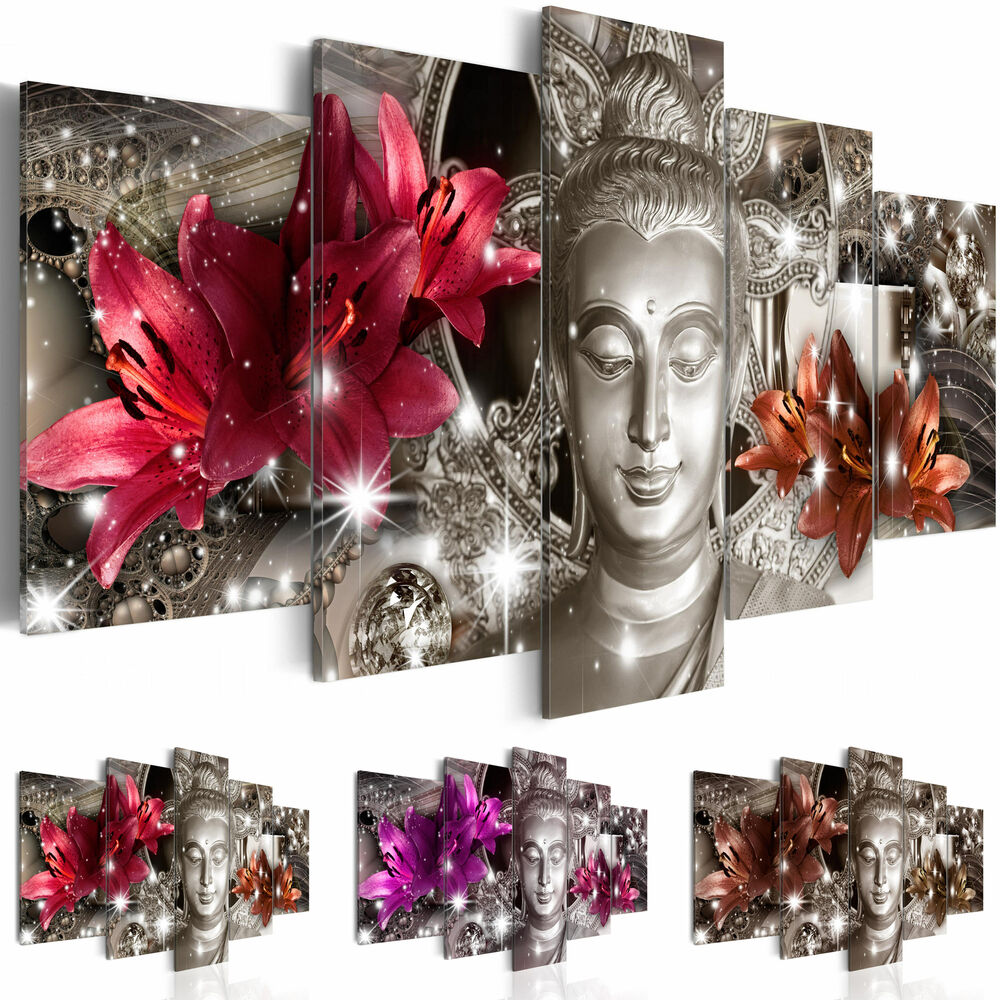 leinwand bilder xxl fertig aufgespannt bild blumen buddha h c 0029 b n ebay. Black Bedroom Furniture Sets. Home Design Ideas