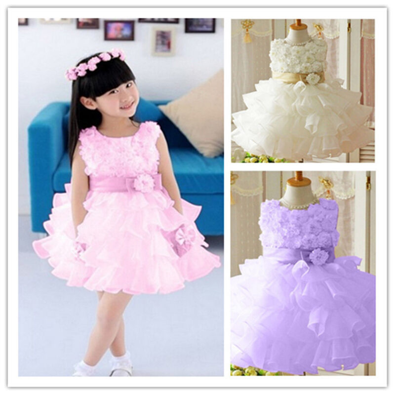 Baby toddler girl clothes flower princess wedding party for Baby wedding dresses newborn