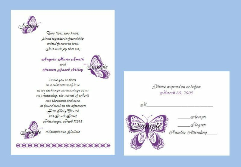 100 Wedding Invitations: 100 Personalized Custom Scroll Purple Butterfly Bridal