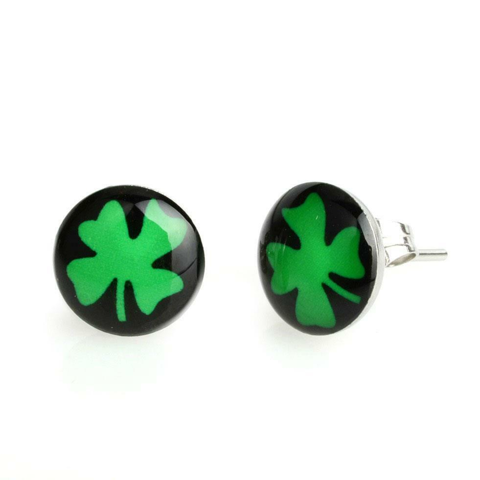 clover earrings studs stainless steel earrings lucky four leaf clover 10mm green 9944