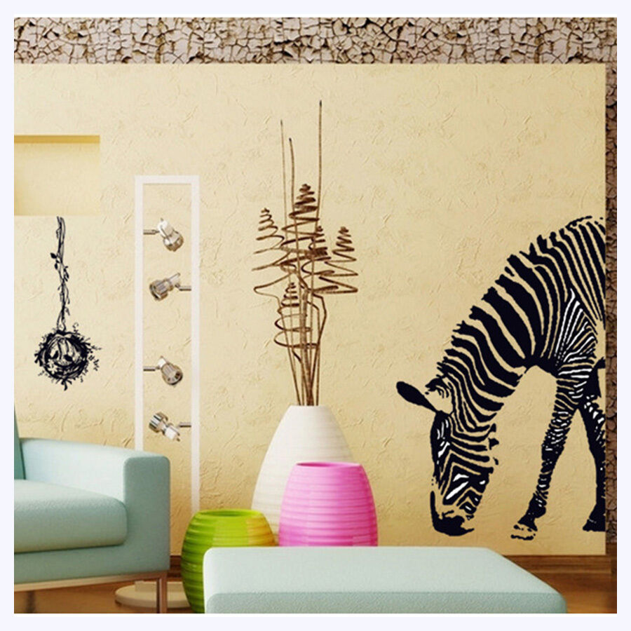 Animal zebra home decor mural removable wall stickers for Animal wall decoration