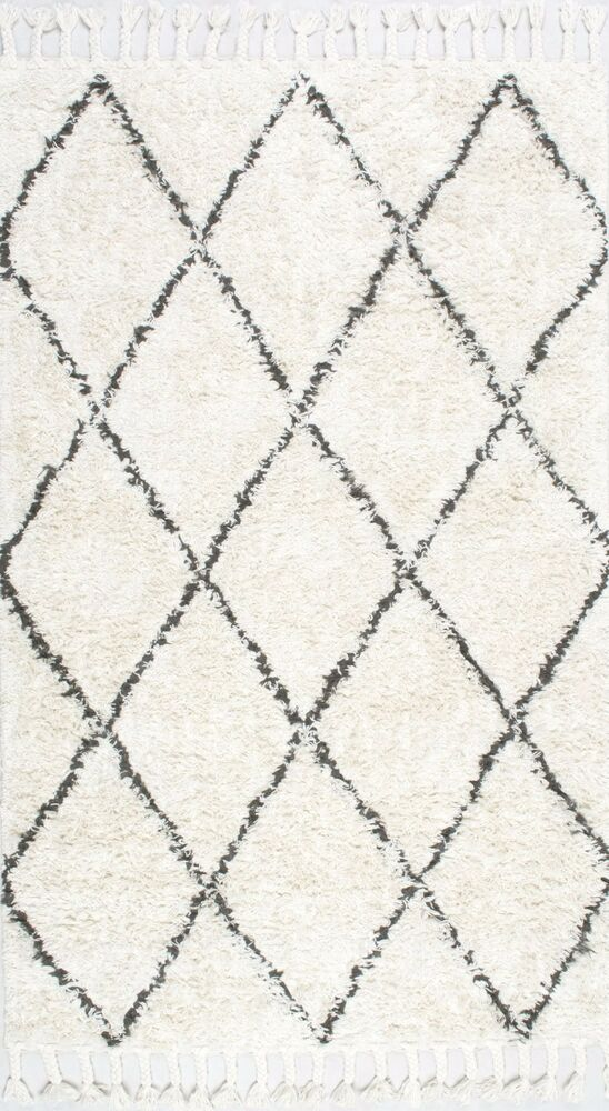 Nuloom Hand Knotted Wool Tassel Natural White Shag Area