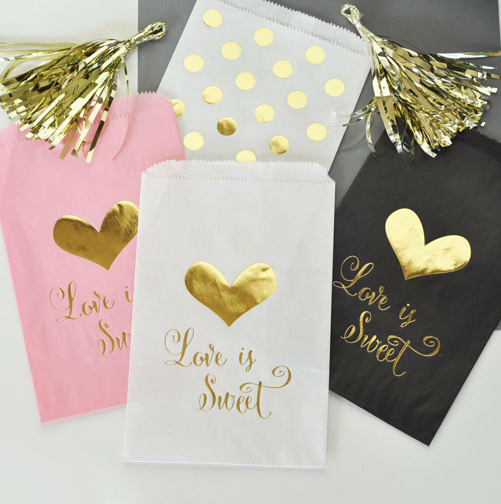 Love Is Sweet Gold Foil Candy Buffet Bags Wedding Favors eBay