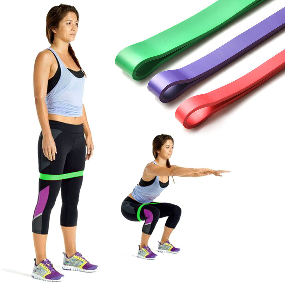 Exercise Fitness: Set Of 3 Heavy Duty Resistance Band Loop Exercise Yoga