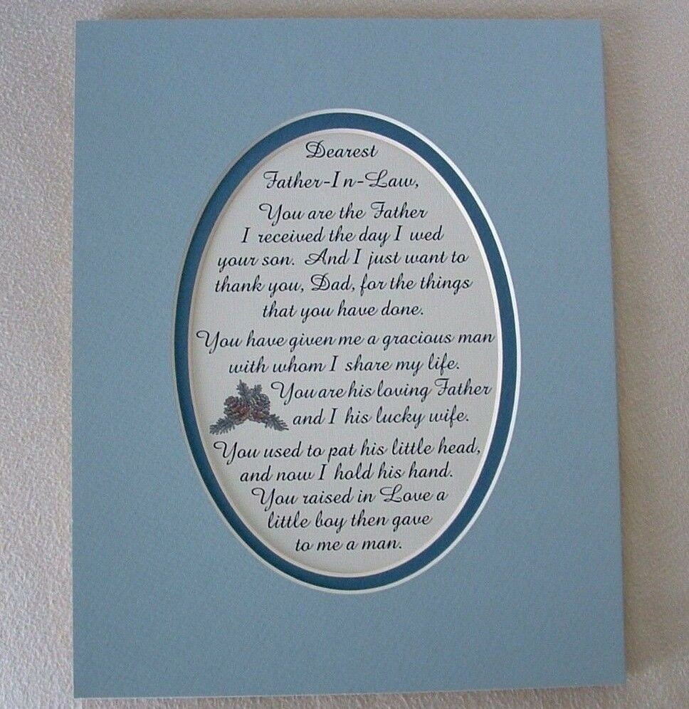 FATHER IN LAW Dad GRACIOUS MAN Thank U (frm Daughter In Law) verses poem plaques   eBay