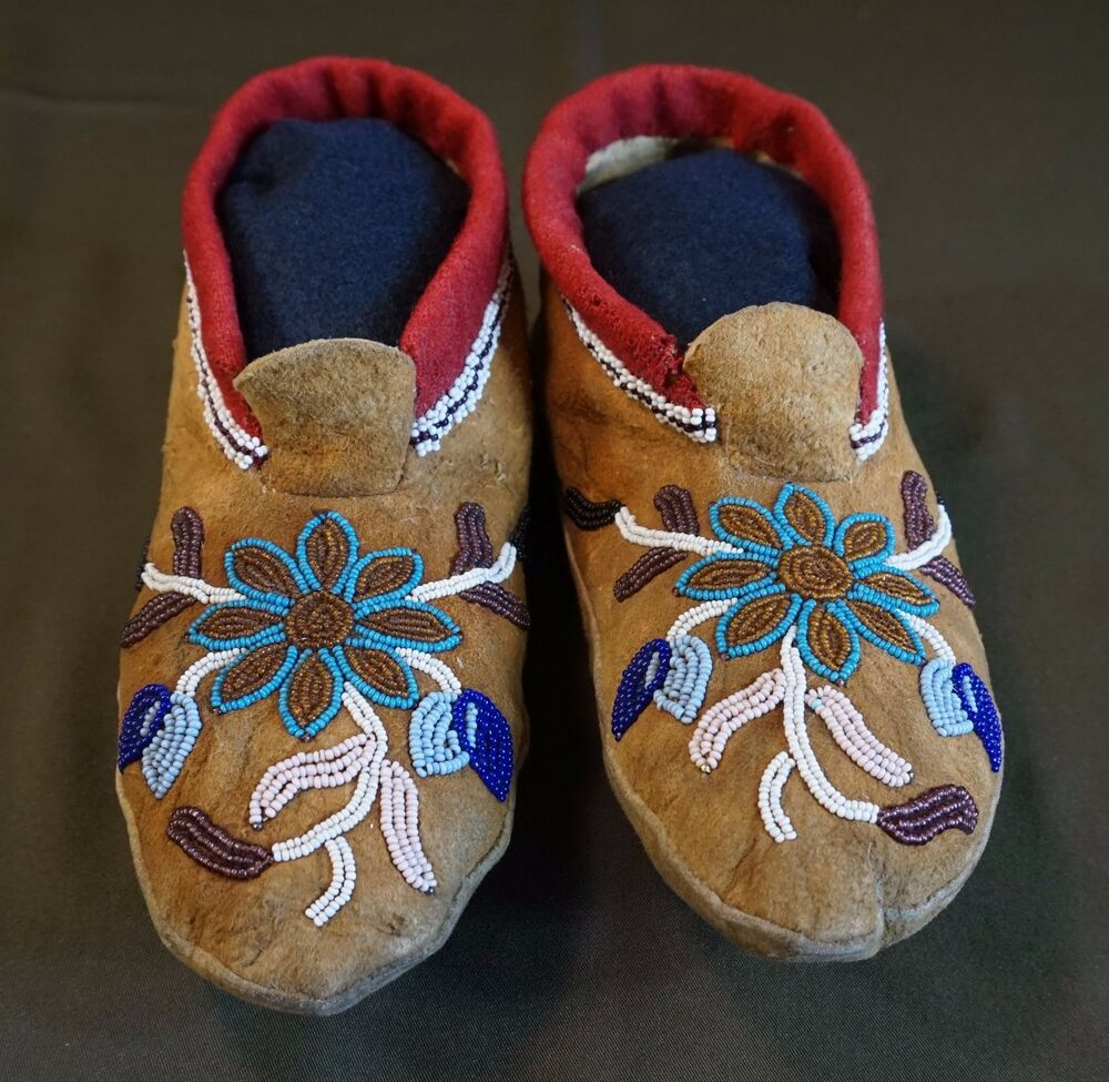 1900 native american first nation cree metis beaded moccasins ebay