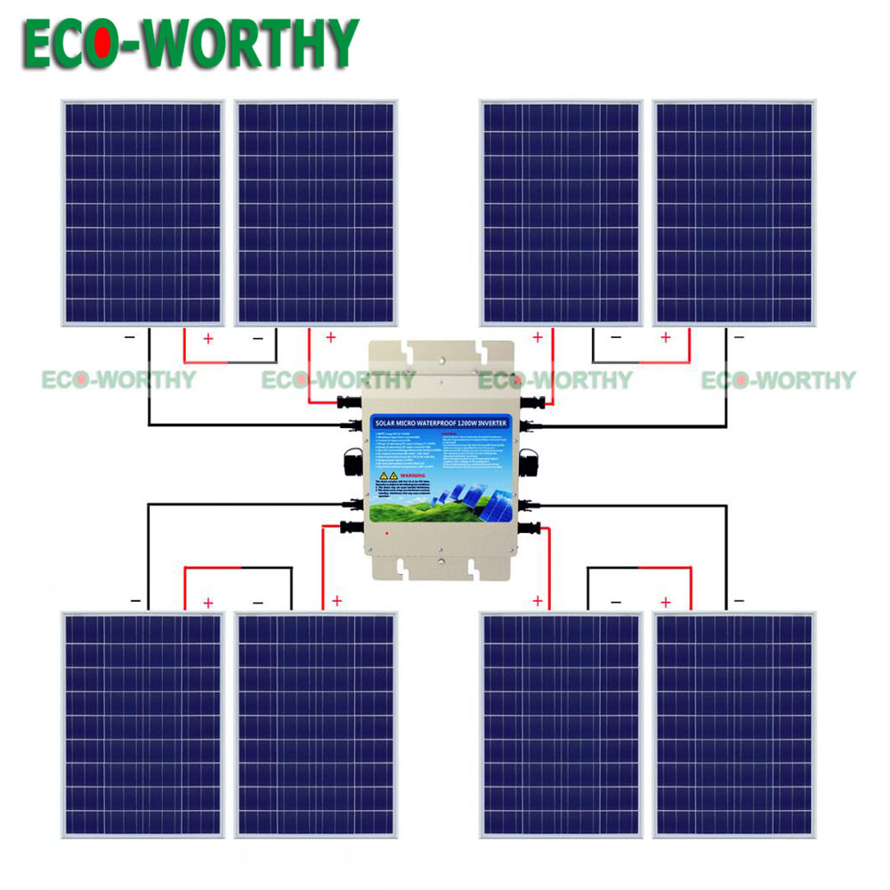 800w 24v Grid Tie Kit 8 100w Solar Panel W 1200w