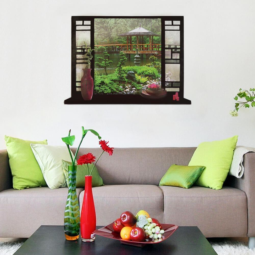 Garden scenery 3d window view scene removable sticker wall for 3d garden decoration