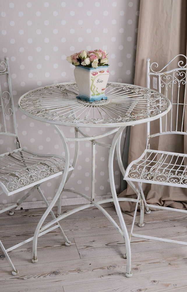 metalltisch garten shabby chic gartentisch metall tisch weiss eisentisch ebay. Black Bedroom Furniture Sets. Home Design Ideas