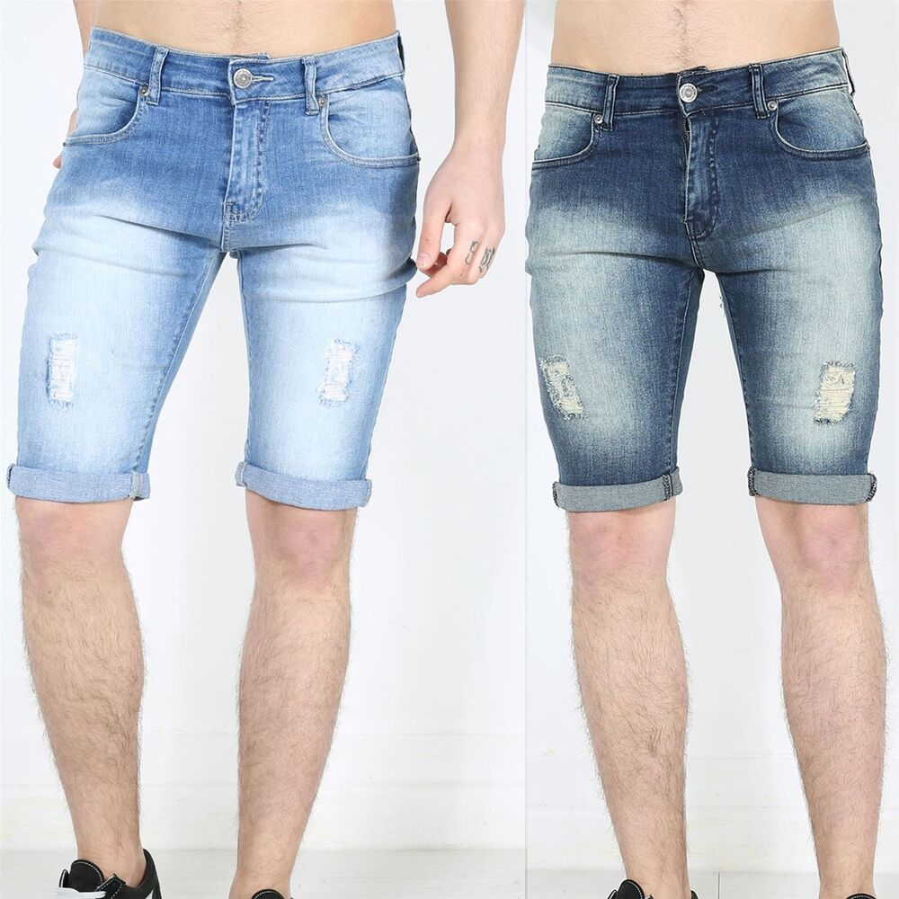 Mens Boys Turn Up Denim Jeans Pockets Faded Ripped Skinny Fit Shorts | eBay