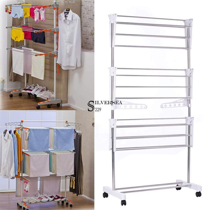 Large In Outdoor Folding Laundry Rack Clothes Drying Stand