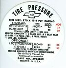 1968 CAMARO Z28 TIRE PRESSURE DECAL-E70 X 15-TIRE SIZE