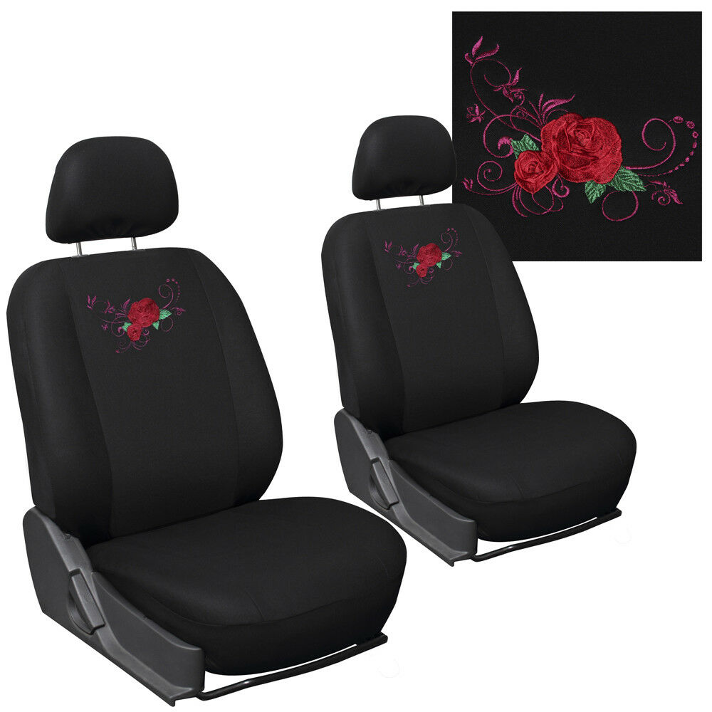 Truck Seat Covers For Ford F150 Red Rose Flower Bucket W