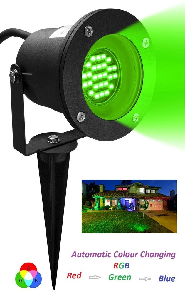 led rgb automatic colour changing gu10 outdoor garden ground spike spot light ebay. Black Bedroom Furniture Sets. Home Design Ideas