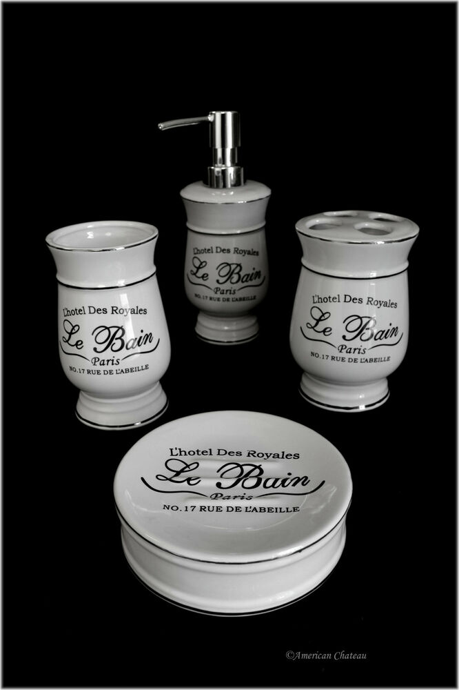 Distressed 4pc black white vintage french paris hotel for Black bath accessories sets