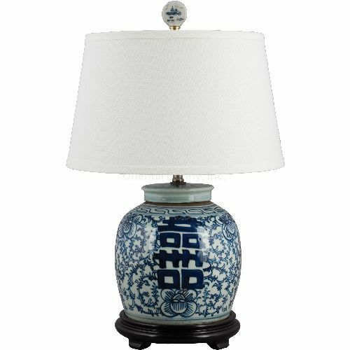 Classic Blue And White Porcelain Oriental Ginger Jar Lamp