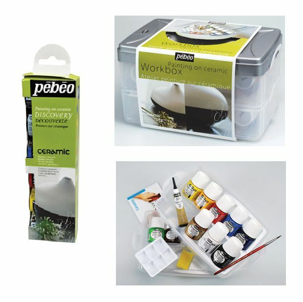 Pebeo ceramic painting discovery sets solvent based opaque for Ceramic based paint