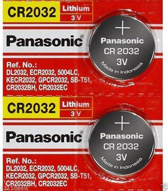2 pcs panasonic cr2032 3v lithium coin cell battery. Black Bedroom Furniture Sets. Home Design Ideas