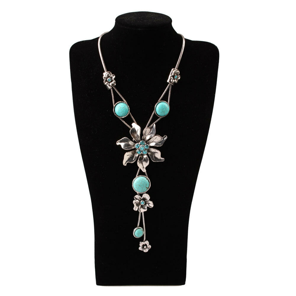 hot selling fashion flower turquoise necklace pendant blue