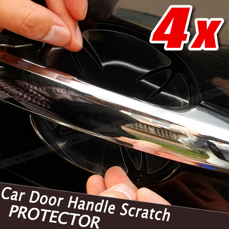 4 pcs car door handle paint scratch protector stickers transparent film vinyl ebay. Black Bedroom Furniture Sets. Home Design Ideas