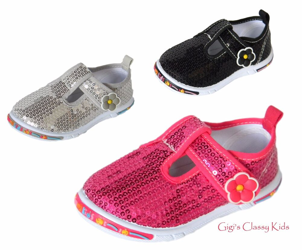 Baby Toddler Girls Dress Tennis Shoes Flats Sequins