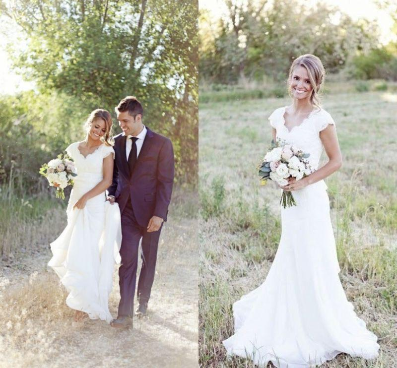 Vintage lace v neck wedding dress mermaid western country for Western vintage wedding dresses