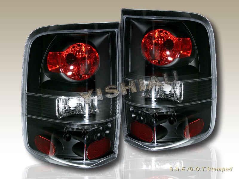04 08 ford f 150 f150 black tail lights xl xlt king 05 06. Black Bedroom Furniture Sets. Home Design Ideas