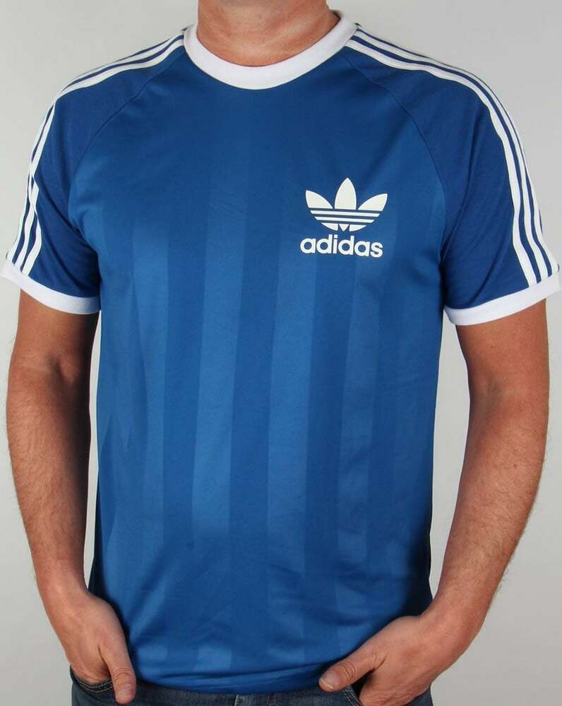 adidas originals california t shirt in blue retro 3 stripe football shirt sale ebay. Black Bedroom Furniture Sets. Home Design Ideas
