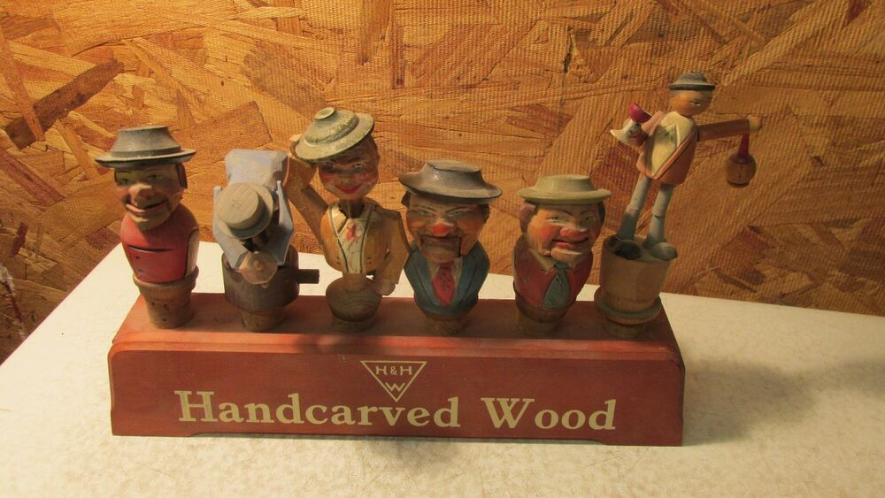 Old Anri Carved Wood Mechanical Bottle Stoppers Amp Stand Ebay