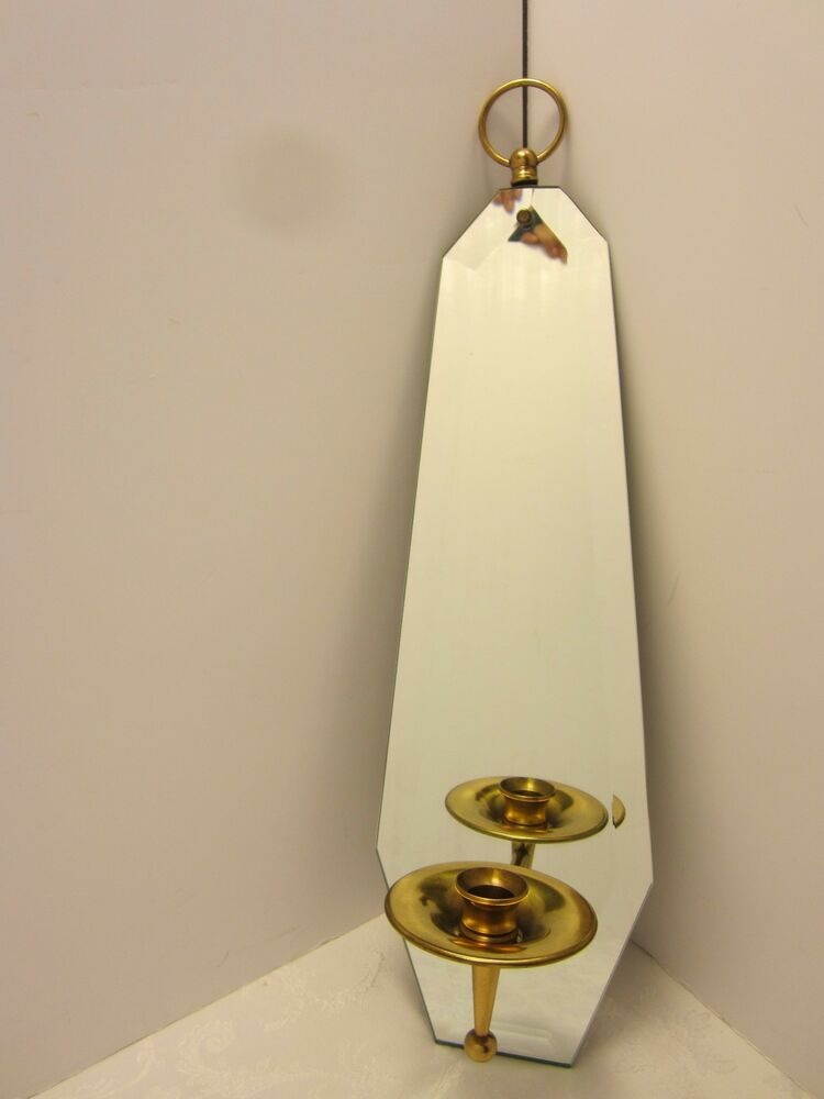 mid century modern brass candle holder beveled wall mirror sconce 20 h ebay. Black Bedroom Furniture Sets. Home Design Ideas