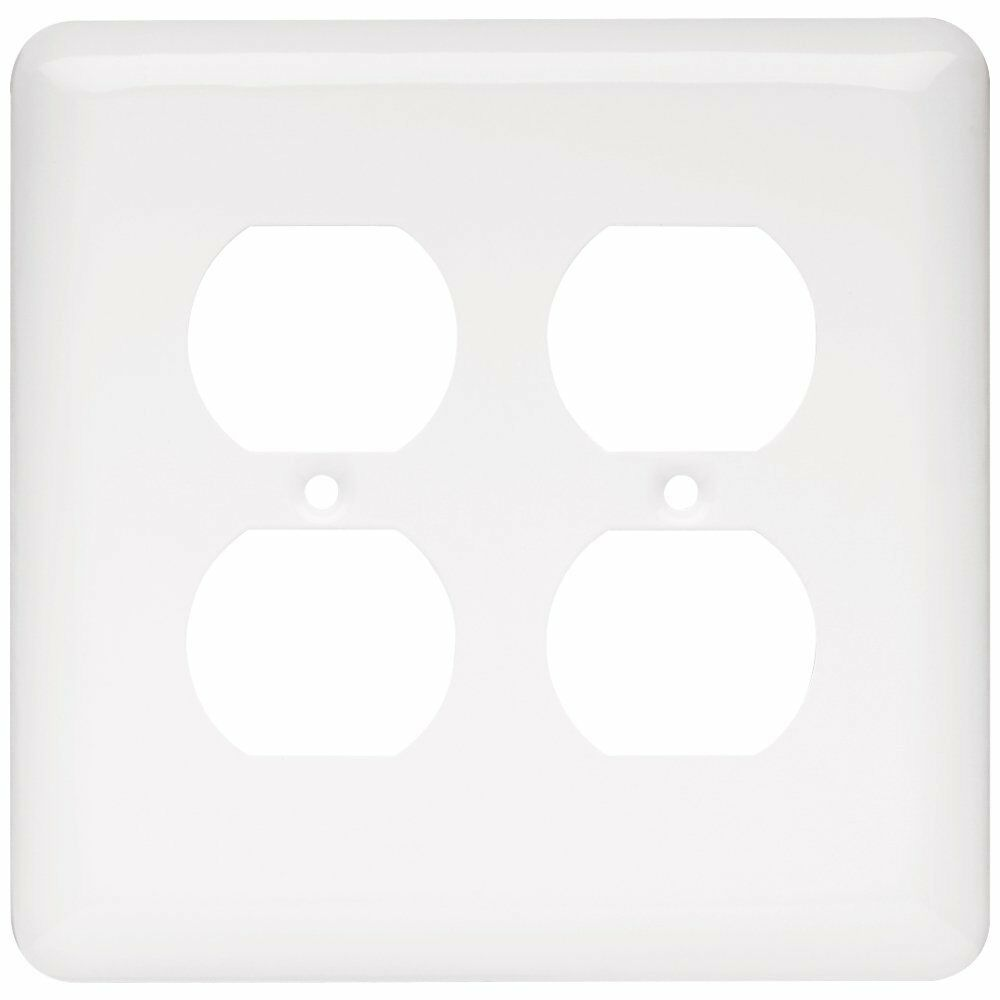 64077 stamped white double duplex outlet switch cover ebay for Watch duplex free online