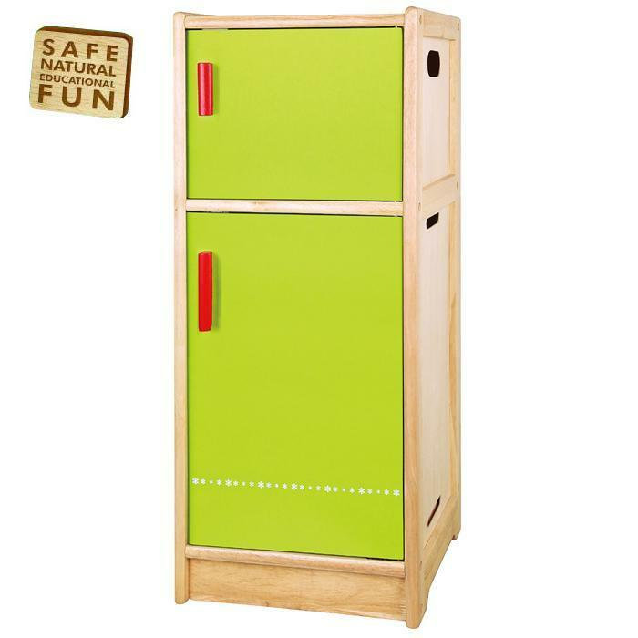 Wooden Fridge Refridgerator Childrens Kids Pretend Play