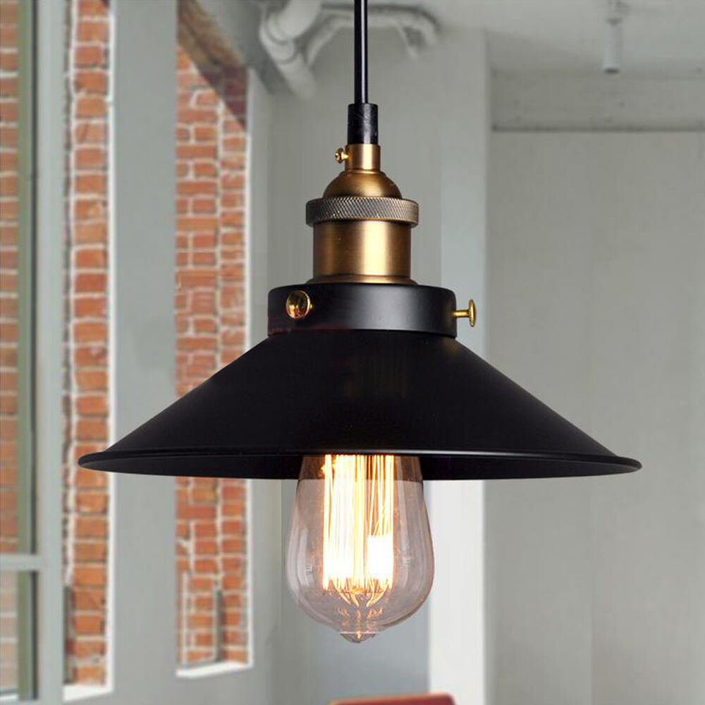 Fixture ceiling lamp retro industrial iron vintage pendant - Suspension industrielle noire ...