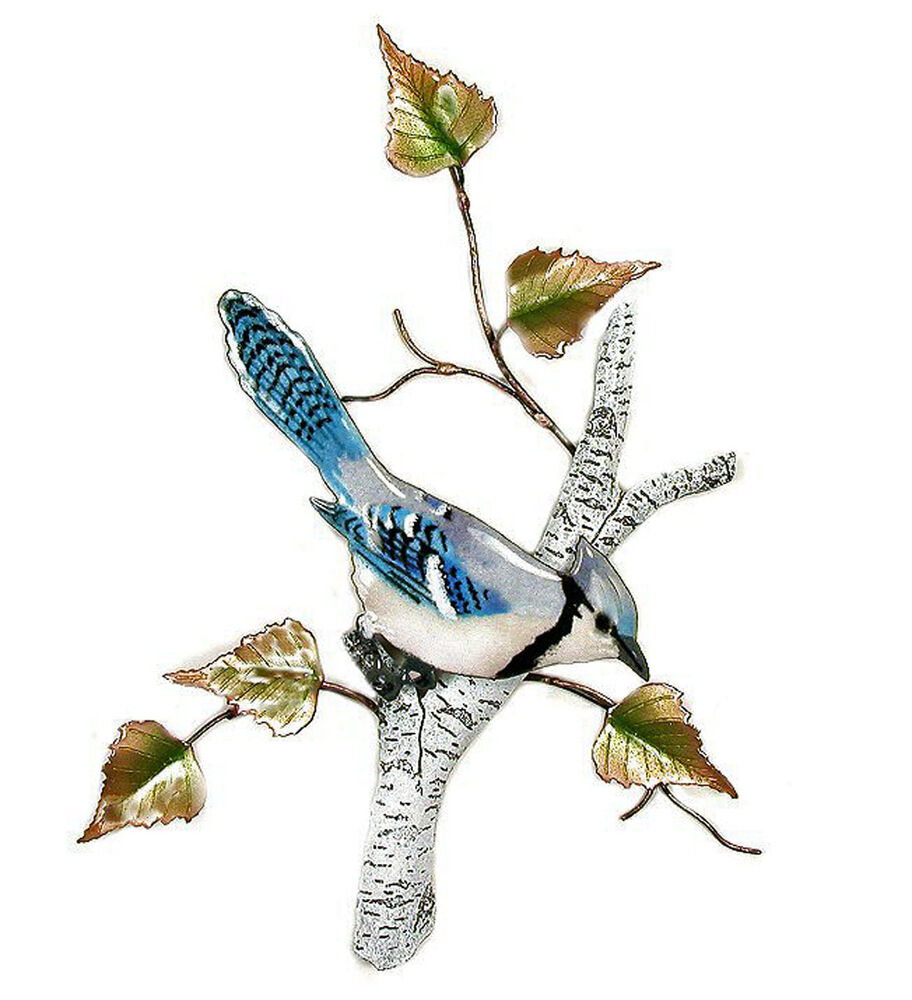 Metal Sculptures And Art Wall Decor: BLUE JAY IN BIRCH TREE METAL WALL SCULPTURE