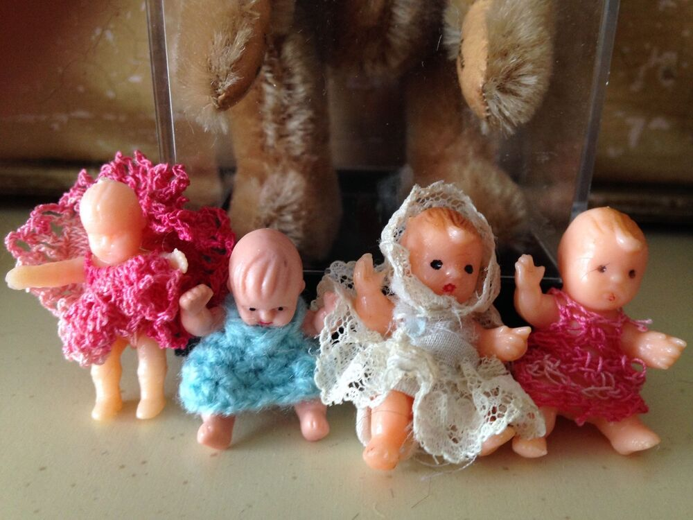 Lot 4 Vintage Miniature Rubber Baby Dolls Dollhouse 3