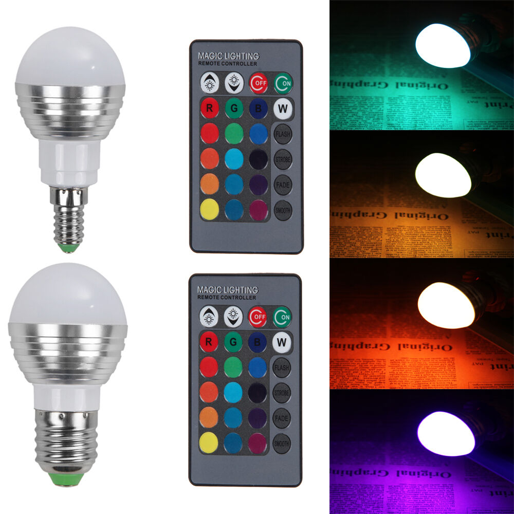 e27 e14 5w dimmable rgb led light color changing bulb wireless remote control. Black Bedroom Furniture Sets. Home Design Ideas
